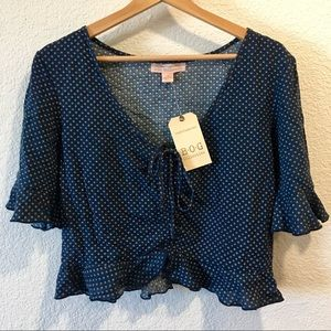NWT Band Of Gypsies Cropped Blouse, M